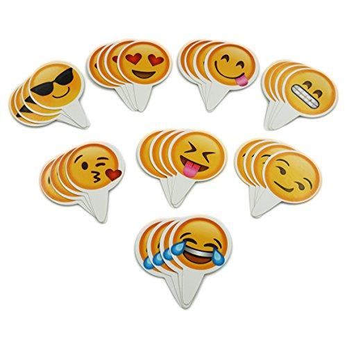 Popculta 32Pcs Cute Emoji Cupcake Topper Cake Decoration (Pack of 32)