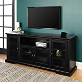 WE Furniture 70' Highboy Style Wood TV Stand Console, Black