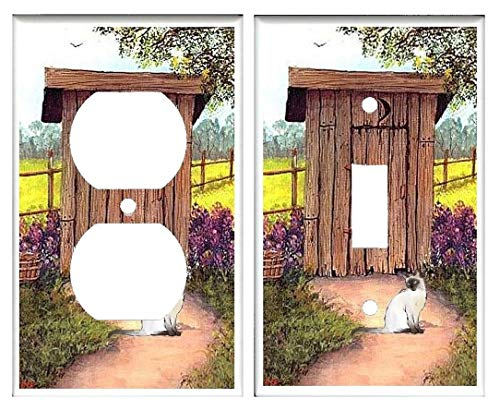 (Light Switch Plate Cover - Outhouse with Siamese Cat)