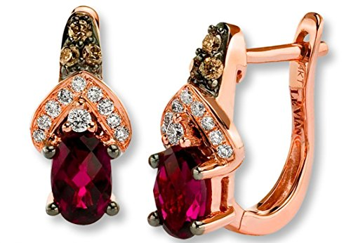 LeVian Rhodolite Garnet Chocolate and Vanilla Diamonds 1.30 cttw Earrings 14k Solid Rose Gold NEW (Le Vian Chocolate Diamond And Garnet Ring)