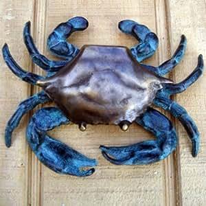 Blue crab door knocker solid antiqued brass nautical decor - Nautical door knockers ...