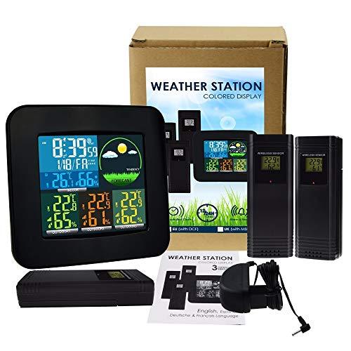 AFGD Termómetro Digital Termómetro Digital E Higrómetro con Sensor Inalámbrico Y Despertador.: Amazon.es: Hogar