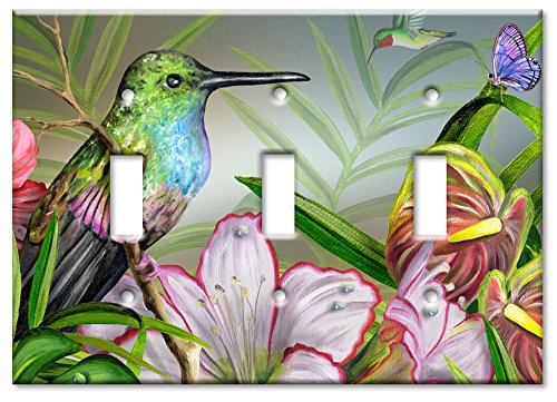 Art Plates - Triple Gang Toggle OVERSIZE Switch Plate/OVER SIZE Wall Plate - Hummingbird at ()