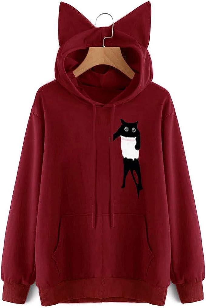 Felicove Damen Hoodie, CAT Brief gedruckt Kapuzenpullover