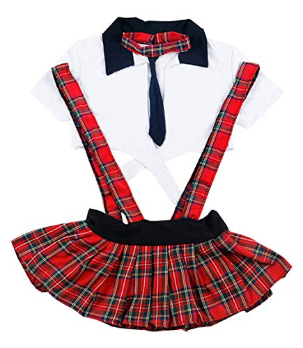 Olens Womens Sexy Schoolgirl Lingerie Set Costume Uniform Fancy Dress Lingerie Set Plus -