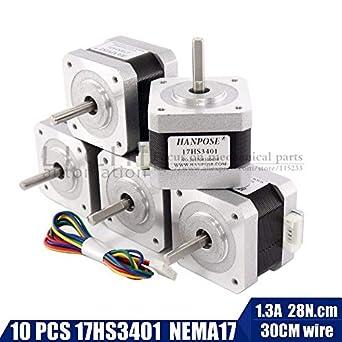 Amazon.com: Xligo 10pcs Nema17 17HS3401 4 plomo motor paso a ...