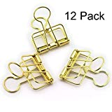Metal Wire Binder Clips Decorative Clips Tacks for Cork Board and Photo Wall Photo, File Storage, Home Office Supplies No Holes for The Paper 12 Pack (12pcs Gold)