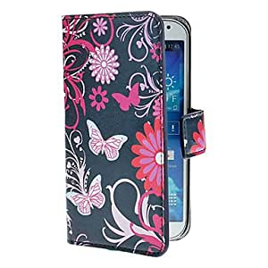 JJE Blue Butterflies Pattern PU Leather Case with Stand and Card Slot for Samsung Galaxy S4 I9500