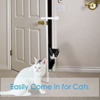 ENJOY PET Adjustable Door Ribbons & Latches, Easy to Access for Cat and Keep Dog Out, No More Pet Doors or Gates, No Drilling, Baby and Dog Proof Latches