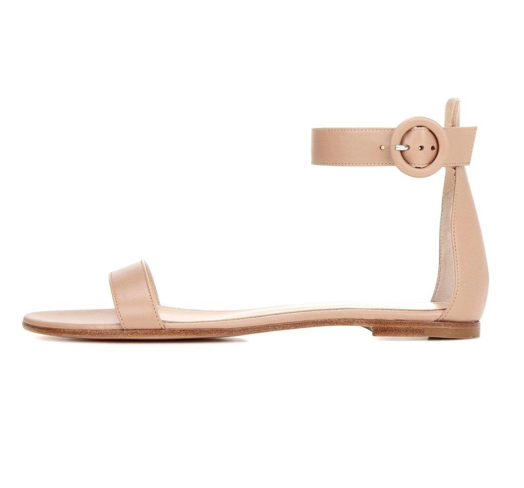 Sammitop Women's Open Toe Ankle Strap Sandals Ladies Indoor Outdoor Summer Flats B06XVVJVRB 8 B(M) US Beige