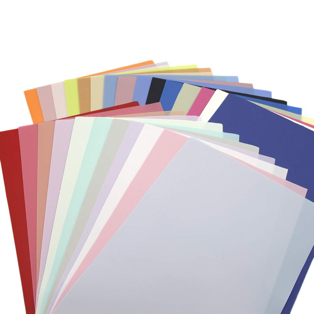 David accessories Solid Color Jelly Faux Leather Sheets Frosted Smooth Waterproof PVC Synthetic Leather Fabric 26 Pcs 8'' x 13'' (20cm x 34cm) for DIY Craft Project (26pcs Jelly Sheets) by David accessories (Image #3)