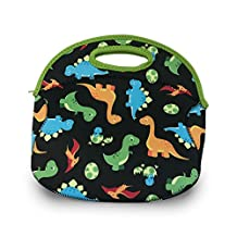FUNKINS Washable, Insulating Neoprene Lunch Bag for Kids, spacious to hold reusable lunch containers, great for waste-free lunch, DINOSAURS