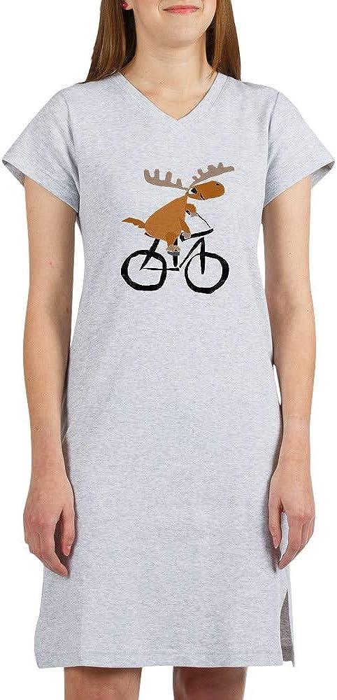 CafePress Moose Riding Bicycle Nightshirt