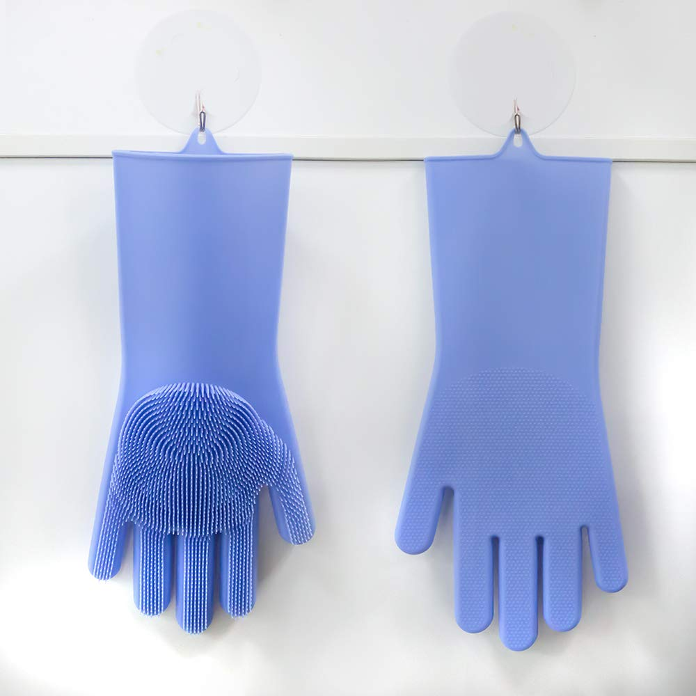 Car Washing Household 1 Pair Pet Hair Care Reusable Brush Silicone Cleaning Gloves Heat Resistant Gloves for Kitchen Mrupoo Magic Silicone Dishwashing Gloves with Wash Scrubber Blue