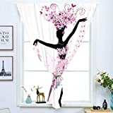 Blackout Window Curtain,Free Punching Magic Stickers Curtain,Latin,Silhouette of a Woman Dancing Samba Salsa Latin Dances Spain and Mexico Culture Print Decorative,Pink Black,Paste style,for Living Ro