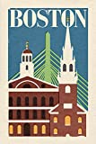 Boston, Massachusetts - Woodblock (9x12 Art Print, Wall Decor Travel Poster)