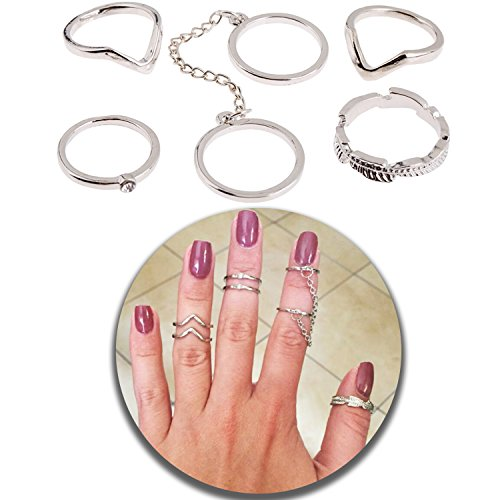 Trendy Jewelry Set of 6pcs Refined Mid Midi Stacking Joints Knuckles Finger Rings In Silver Color, Different Sizes and (Studded Wristband Single)