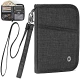 AtYOU Passport Holder Neck Wallet RFID Passport Wallet Case Travel Wallet for Men Women with Removable Wrist Strap and Neck Strap, Black