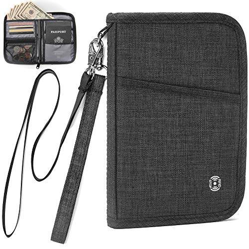 AtYOU Passport Holder Neck Wallet RFID Passport Wallet Case Travel Wallet for Men Women with Removable Wrist Strap and Neck Strap, Black (Removable Wrist Strap)