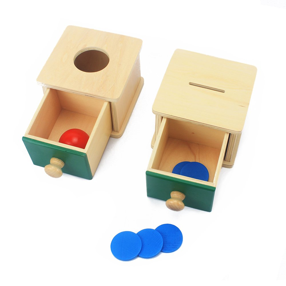 QLL 2 Box Infant /& Todders Montessori Kids Toy Baby Wooden Coin Box Piggy Bank /& Wooden Ball Matching Box Learning Educational
