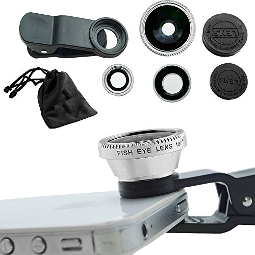 (Case Safety 1 x 3in1 Lens Photo Clip Kit Set for Mobile Phone Tablet PC , Silver)
