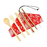 Ktyssp Portable Bamboo Cutlery Travel Eco-Friendly Fork Spoon Set Include Reusable Fork Spoon Set (F)
