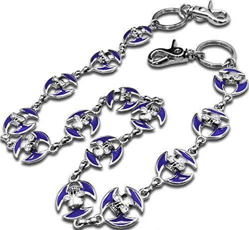 Denim Skull Dress (LUNA Women's Sexy Gold & Silver Jean Chains - Skull Eye - Royal Blue)