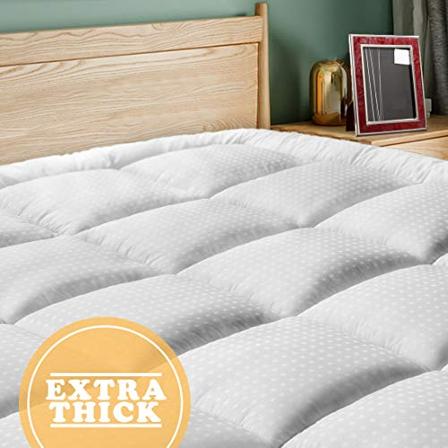 SOPAT Extra Thick Mattress Topper(King),Cooling Mattress Pad Cover,Pillow Top Construction(8-21Inch Deep Pocket),Double Border,Hypoallergenic Down Alternative Fill,Breathable