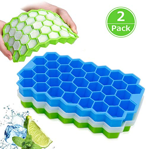 Ice Cube Trays, Henglisam 2 Pack Silicone Ice Cube Molds with Lid Flexible 74-Ice Trays BPA Free, Spill-Resistant Removable Lid Ice Cube Molds for Chilled Drinks, Whiskey & Cocktails