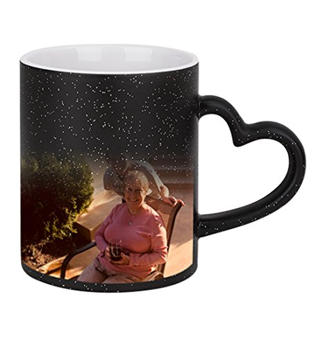 Magic Custom Photo Color Changing Coffee Mug Cup, Personalized DIY Print Ceramic Hot Heat Sensitive Cup Birthday Christmas Gift -Add YOUR PHOTO&TEXT (Black-Star Bling, Heart Handle)