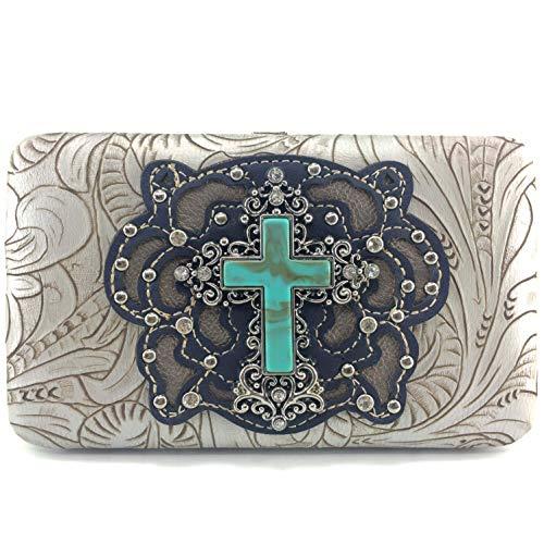 Zelris Western Turquoise Stone Cross Women Snap Closure Bifold Flat Clutch Wallet (Silver)