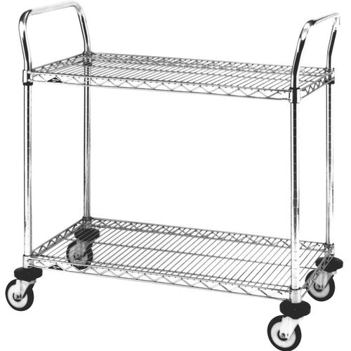 Mw Series - Metro MW Series Chrome Plated Wire Utility Cart, 2 Shelves, 375 lbs Capacity, 36