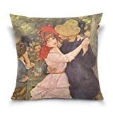 SUABO Dance at Bougival by Pierre-Auguste Renoir Cotton Velvet Decorative Throw Pillow Case Cushion Cover 20 X 20 inch