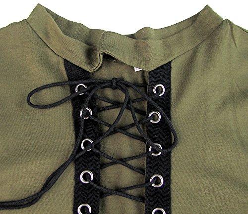 Vert Mini Manches T Cou Crisscross Longue Bandage Sexy Blouse Shirt Courtes Imixcity Robe V Bodycon Out Femmes Hollow Choker gwUxU067