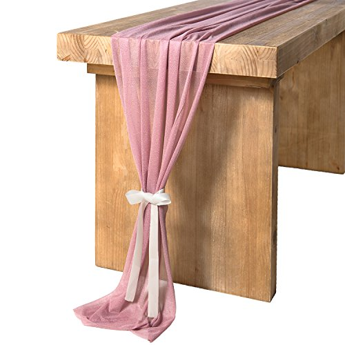 Ling's moment 32 x 120 inches Mauve/Dusty Rose Sheer Table Runner/Overlay Rustic Boho Wedding Party Bridal Shower Baby Shower Decorations by Ling's moment (Image #1)