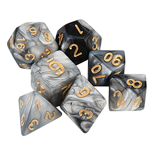 Tharv❤7pcs/Set TRPG Game Dungeons & Dragons Polyhedral D4-D20 Multi Sided Acrylic Dice (G)