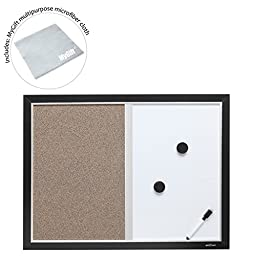 2-in-1 Black Wood Framed Wall Mounted Combination Bulletin Cork Board & Magnetic Whiteboard - MyGift®