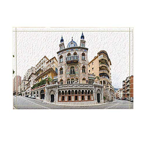 Monaco Decor Signature Building of Monaco City Street Bath Rugs Non-Slip Doormat Floor Entryways Outdoor Indoor Front Door Mat Kids Bath Mat 15.7X23.6In Bathroom Accessories