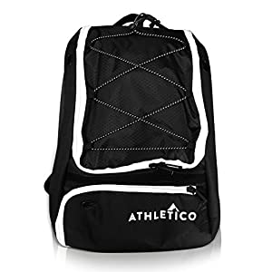 Athletico Baseball Bat Bag - Backpack for Baseball, T-Ball & Softball Equipment & Gear for Kids, Youth, and Adults | Holds Bat, Helmet, Glove, Shoes |Separate Shoe Compartment & Fence Hook