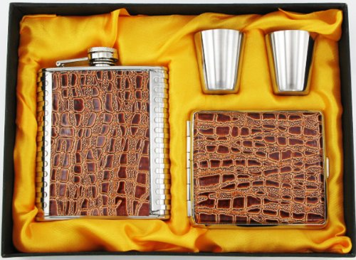 Set-8oz-Stainless-Steel-Flask-cigarette-case-And-Shot-glasses-Groomsman-Gift