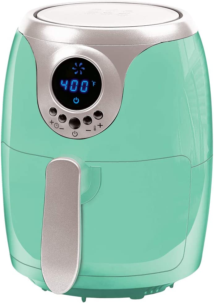 Copper Chef 2 QT Black and Copper Air Fryer - Turbo Cyclonic Airfryer With Rapid Air Technology For Less Oil-Less Cooking. Includes Recipe Book (Teal)
