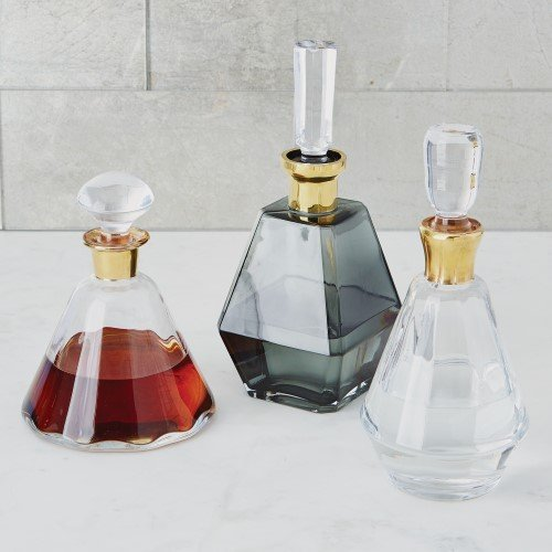 Faceted Perfume Bottle Bar Glass Decanter Set 3 | Prism Gold Clear Wine (Faceted Pitcher)