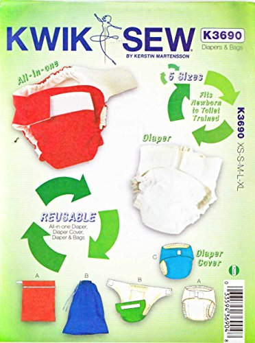 Kwik Sew K3690 Diapers Sewing Pattern, Diaper Cover