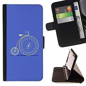 For Sony Xperia Z3 Compact / Z3 Mini (Not Z3) Case , Bicicleta del vintage azul Velo Hobby- la tarjeta de Crédito Slots PU Funda de cuero Monedero caso cubierta de piel