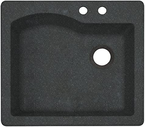 Swanstone QZ02522SB.077-2B 2-Hole Granite Kitchen Sink, 22 x 25 , Nero