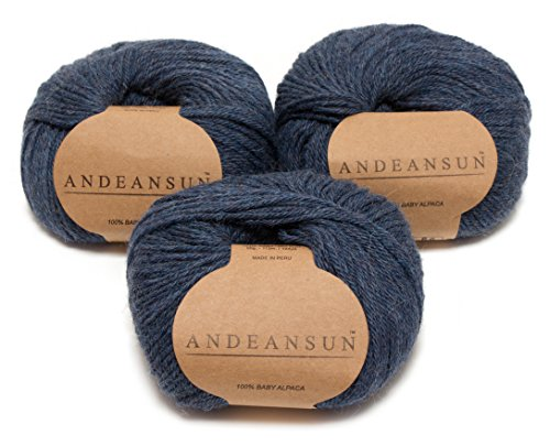 (100% Baby Alpaca Yarn Skeins - Set of 3 (Heather Steel Blue/Grey) - AndeanSun - Luxuriously soft for knitting, crocheting - Great for baby garments, clothing & craft projects - HEATHER STEEL BLUE/GREY)