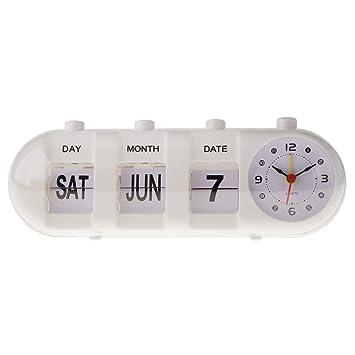 B Blesiya Reloj Flip Retro de Moda Reloj de Escritorio Despertador Digital Manual Regalo Estudiantes - Blanco: Amazon.es: Hogar