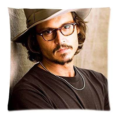 Custom Cotton & Polyester Soft Square Zippered Cushion Throw Case Pillow Case Cover 18X18 (Twin Sides) - Music Movie Series America Kentucky Hot Cool Popular Johnny Depp Personalized Pillowcase For Fans Design