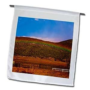 Jos Fauxtographee Rainbow - A rainbow going across the mountainside - 18 x 27 inch Garden Flag (fl_79885_2)