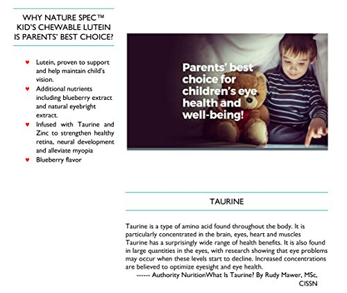 Nature Spec Kids Chewable Lutein Premium Blueberry Flavor Taurine Vitamin Zinc Eyebright Extract Lycium Extract Kid's Eye Health,Vitamin Chewbale Eye Health Kid Lutein by Nature Spec (Image #8)